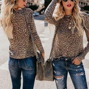 Animal prints leopard long sleeve tees tops